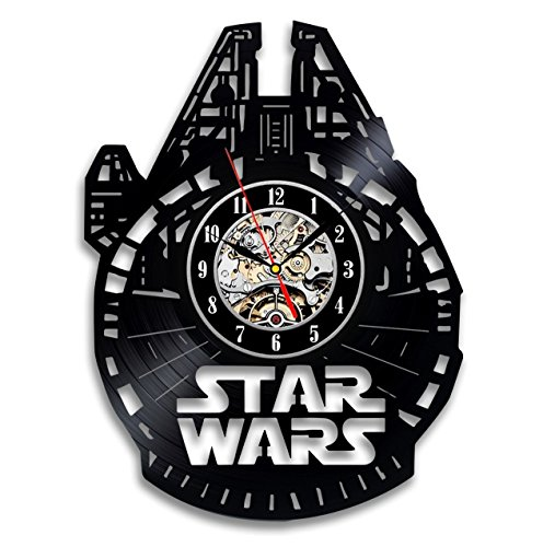 Star Wars Millenium Falcon Vinyl Wall Clock-Unique Home Decor That Will Suit to Any Interior - Handmade Gift for Birthday Anniversary or Any Other Occasion Gift for Him Gift for Her