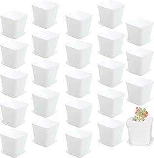 24 Pack 3 Inch White Square Plastic Plant Pots with Saucer,Seedling Nursery Transplanting Planter Container,White Square P...