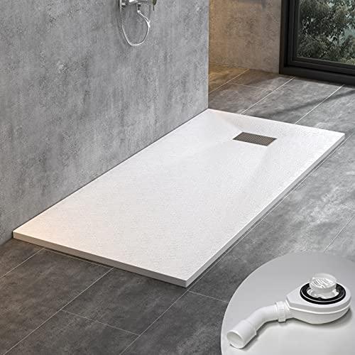STEINHIRSCH Duschwanne 160x90 cm SMC Brausewanne Weiß Steinoptik Duschtasse Extraflach Anti-Rutsch mit Ablaufgarnitur