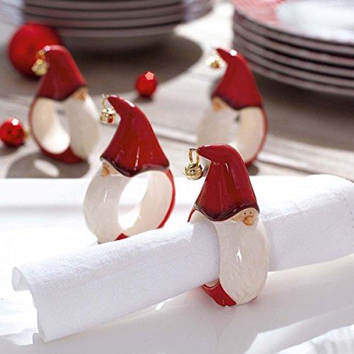 Weihnachtsdeko - Serviettenringe Wichtel - 4er Set - Tischdeko - Rot Weiß