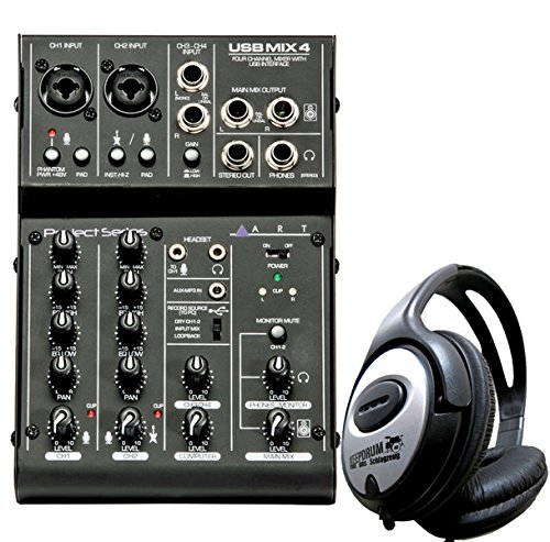 Art USBMix4 USB-Mischpult 4 Kanal Mixer + keepdrum Kopfhörer