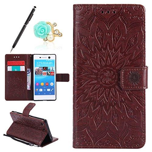 Uposao Kompatibel mit Sony Xperia M5 Hülle Leder Flip Case Handyhülle Mandala Blumen Muster Schutzhülle Ledertasche Lederhülle Männer Retro Wallet Tasche mit Magnetverschluss,Braun