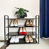 Metal Shoe Rack, Black 4 Tier Shoe Rack for Boys, Sturdy Shoe Storage for Men, Modern Shoe Rack Shelf for Bedroom/Garage/Kitchen/Entryway/Front Door/Behind the Door, No Mesh, Easy to Clean, 27' L10'W23'H