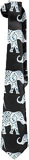 Jadetian Novelty Men's Wide Tie Long Necktie Elephant Flower Art Printed Polyester Silk Neck Tie
