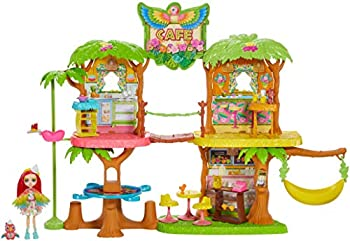 Enchantimals Junglewood Cafe Playset  -2 feet  with Peeki Parrot Doll  6-inch  and 15+ Removable Accessories [Amazon Exclusive]