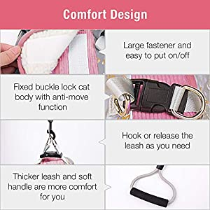 Pet Soft Cat Harness Large, Adjustable Cat Dog Vest Harness and Leash for Walking Escape Proof, Reflective Soft Kitten Harness for Small Medium Puppies