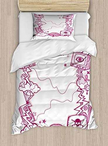 ABAKUHAUS Tv programma Dekbedovertrekset, modern Creative, Decoratieve 2-delige Bedset met 1 siersloop, 130 cm x 200 cm, Dark Magenta White
