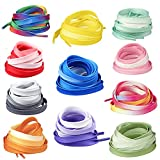 RONRONS 11 Pairs Flat Colorful Shoelaces Gradient Rainbow Shoestring for Sneakers,120cm/47'' (Random Color)