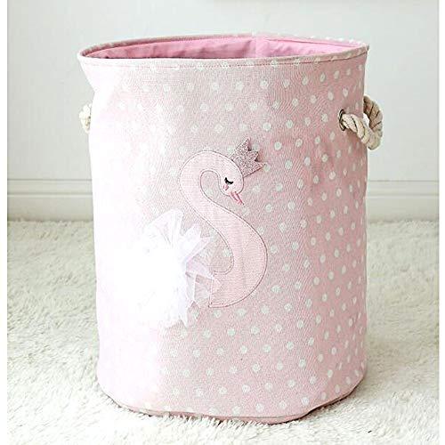 Baby Wäschekörbe, große faltbare Baby Wäschekorb niedlichen Tier Lagerplätze Organizer mit Baumwolle Seil Griffe für Baby/Kinderzimmer Spielzeug Bad Handtuch (Schwan)