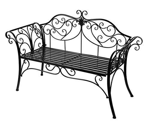 HLC, panca da giardino, in metallo anticato, da esterni, seduta con schienale decorativo in ghisa Black