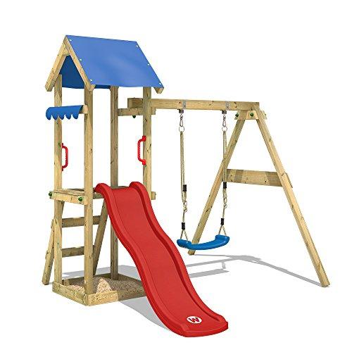WICKEY Spielturm TinyWave Kletterturm Spielhaus mit Rutsche und Schaukel, Sandkasten und Kletterleiter, rote Rutsche + blaue Plane