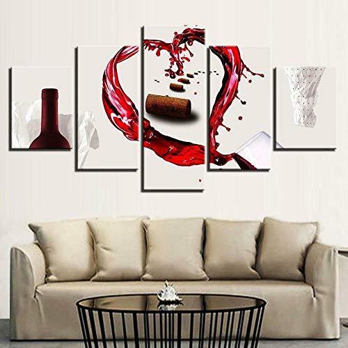 GSDFSD Composición de 5 Cuadros de Madera para Pared - Los Amantes del Vino Botellas Licor - Cuadros Dormitorios Modernos - Listo para Colgar - 100 * 50 cm