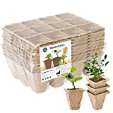 Housolution Bandejas de Arroz De Semillero, [10PZS] Bote de Turba Biodegradable 12 Grid para Inicio de Semillas de Jardinería, Contenedores de Recipiente de Inicio de Plantas Ecológicas - Caqui