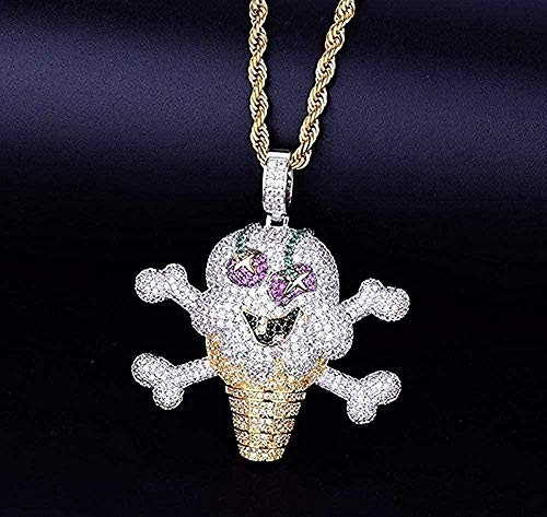 BACKZY MXJP Halskette Halskette Schädel EIS Form Halskette & Anhänger Seilkette Zirkon Zirkon Hip Hop Schmuck Für Geschenk Für Frauen Männer Geschenk Halskette