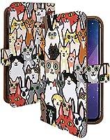 Ascend Mate7 ケース 手帳型 携帯ケース 猫 たくさん 群れ カラフル 猫柄 ねこ柄 おしゃれ アセンド メイト スマホケース 携帯カバー 動物 アニマル柄 カメラレンズ全面保護 カード収納付き 全機種対応 t0104-02253