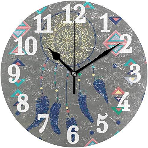 quanjiafu Reloj De Pared Redondo Atrapasueños Colorido con Plumas De Pájaro Y Figuras Geométricas Reloj De Decoración De Arte para El Hogar para La Oficina En Casa