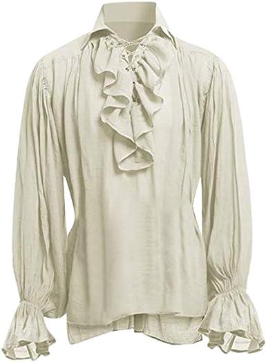 Camisa gótica Medieval para Hombre Blusa Vintage Estilo ...