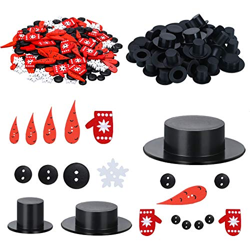 WILLBOND 450 Pieces Christmas DIY Snowman Ornament Kit/Set,Including Carrot Nose Buttons,Mini Plastic Black Top Hats, Tiny Black Buttons, Wood Glove Buttons,White Snowflake Buttons