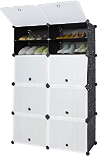 4 Tier Cube Shoe Rack, Multiuse Modular Space Saving Free Standing DIY Plastic Shoe Storage Closet Cabinet Organizer Units with Doors for Entryway Hallway Living Room