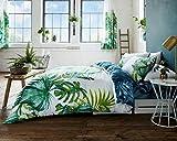 Gaveno Cavalia Tropical Leaf Bettwäsche-Set mit Bettbezug und Kissen Fall Double, grün