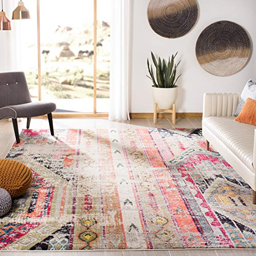 Safavieh Monaco Collection MNC222G Boho Chic Tribal Distressed Accent Rug, 2'2″ x 4′, Light Grey / Multi