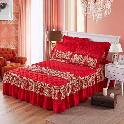 CYYyang Protector de colchón, algodón, poliéster, Hoja de Cama de Encaje de Falda de Cama Engrosada-6_180 * 220cm