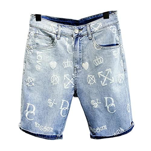HSDFKD Pantalones Cortos para Hombre Pantalones Cortos De Mezclilla Azul Claro Pantalones Cortos De Corte Recto De Algodón Elástico Fino, Claro, Azul, 33