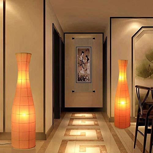 Lámpara de Pie LED, Lámpara de Pie Naranja + Interruptor de Pie + 2 Bombillas LED E27 de Luz Cálida