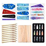 Silicone Resin Molds for Hair Pin Making DIY Hair Pin Jewelry Casting Mold with Hair Clip,12 Styles Glitter Powder,10pcs Wood Sticks