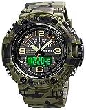 Reloj militar para hombre, deportivo, militar, militar, táctico, deportivo, digital, resistente al agua hasta 5 ATM, despertador, cronómetro, reloj de pulsera, camuflaje verde., Pulsera