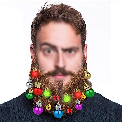 HOWAF Leuchtender Bartschmuck, 4 klingende Jingle-Bells, 4 Bartlichter, 8 bart weihnachtskugeln Mini christbaumkugeln Neuheit Bartdeko Männer für Weihnachts Geschenk
