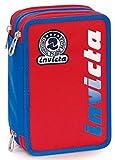 astuccio 3 zip invicta kupang, rosso, con materiale scolastico: 18 pennarelli giotto turbo color, 18 matite giotto laccato…