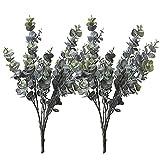 Realistic Artificial Plants, 2 Bunches Faux Eucalyptus for Outdoor Indoor Home Kitchen Garden Decoration (2pcs)