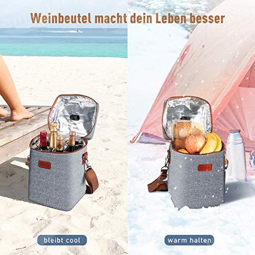 Ventvinal 13L Cooler Bag Picnic Bag Lunch Bag, Multifunctional Oxford Cloth Wine Cooler Bag for 4 Bottles, with Handles and Adjustable Shoulder Straps, for Picnics, Beaches and Parties