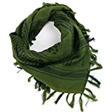 FREE SOLDIER 100% Cotton Military Shemagh Tactical Desert Keffiyeh Head Neck Scarf Arab Wrap with Tassel 43x43 inches(Army Green)