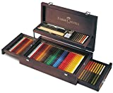 Kit de lápices para dibujo Faber Castell profesional. Caja de madera elegante.