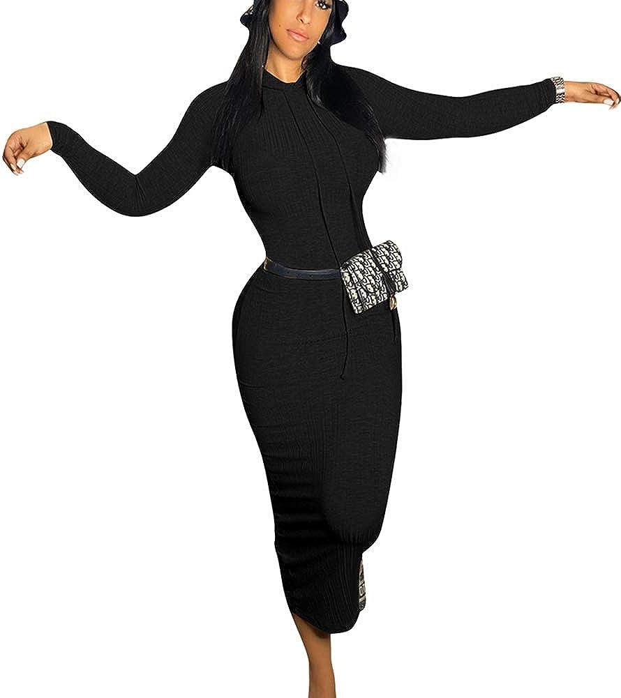 Bluewolfsea Womens Sexy Bodycon Dresses Fall Ribbed Knit Slim Long Sleeve Pullover Hooded Tshirt Maxi Dress