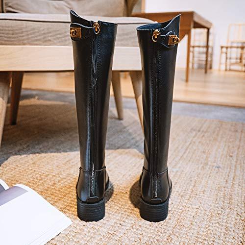 fixiyue Lange Stiefel Damen Herbst und Winter nach Herbst Reißverschluss Ausguss mit Stiefeln flach-Boden den Ritter Stiefel high Boot großen Hof 43 Yards 32 33 Schwarzer Samt
