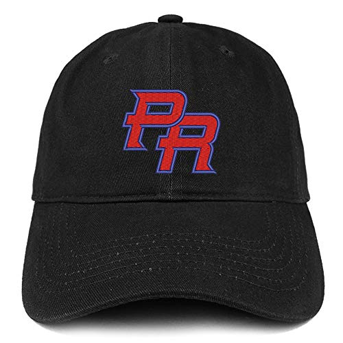 Trendy Apparel Shop Puerto Rico PR Embroidered Soft Crown 100% Brushed Cotton Cap - Black