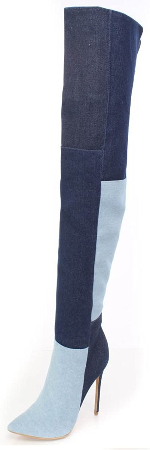 TIANRUI CROWN Women and Ladies Sexy bluee Denim Over-The-Knee Boot Plus Size Patchwork Boot shoes