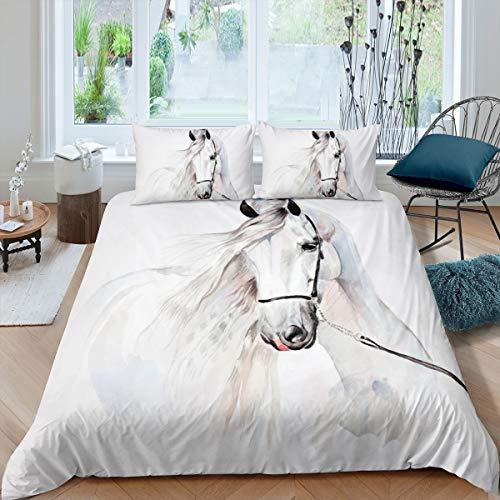 Feelyou Bettbezug-Set mit weißem Pferd, Queen-Size-Größe, für Jungen & Herren, 3D-Steed-Druck, Bettwäsche-Set, Wildtier-Tagesdecke, Bezug mit 2 Kissenbezügen, Mikrofaser, 3-teilig