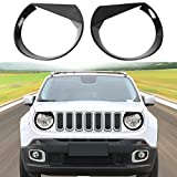 Angry Bird Front Headlight Bezels Trim Cover for Jeep Renegade 2015 2016 2017 2018 (Black)