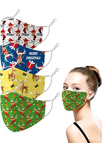 Fashionable Washable Christmas Santa Claus Face Coverings for Men Women, Adjustable Cartoon Printed Holiday Xmas Cloth Mask (Christmas Deer)
