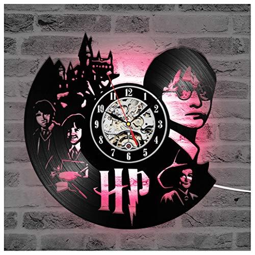 ZhangXF Orologio da Parete in Vinile da Record Harry Potter, Luce Notturna Luminosa a LED Orologio da Parete in Vinile da Record