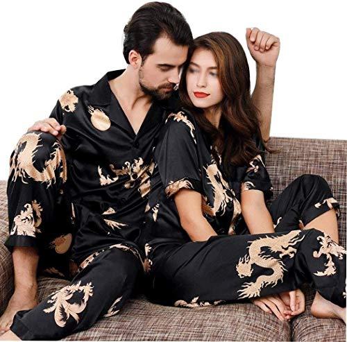 PATA Pijama de dos piezas para parejas, conjunto de pijamas, cuello en V, pijama de manga corta, color negro, talla M-3XL (color: negro, talla: Ms. XL)