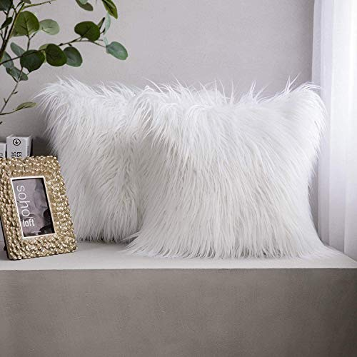 Phantoscope Pack of 2 Faux Fur Throw Pillow Covers Cushion Covers Luxury Soft Decorative Pillowcase Fuzzy Pillow Covers for Bed/Couch,White 22 x 22 Inches