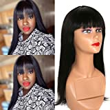 Ur Beautiful Straight Human Hair Wigs With Bangs Echthaar Perücke Brazilian Hair Wigs No Lace front Wigs Straight Wigs for Black Women Full Machine Made Wig Natural Color 14 Zoll