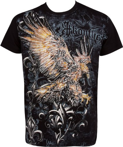 Sakkas 255T Clutching Eagle & Fleur de Lys en Relief Argent métallique Manches Courtes Col Rond Coton T-Shirt Fashion Homme - Noir/XXL