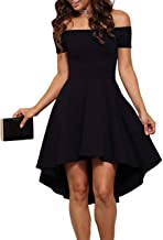Seamido Women's Off The Shoulder High Low Party Cocktail Skater Dress
