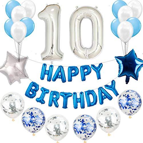 Juego de decoración para cumpleaños de 10 años, color azul y plateado